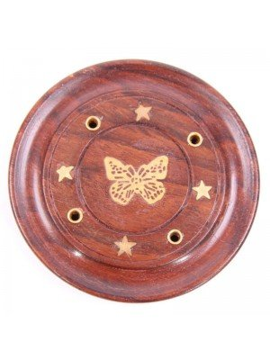 Wooden Butterfly Design Incense Plate - 3