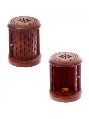 Wooden Carves Barrel Incense Cone Burner With Door