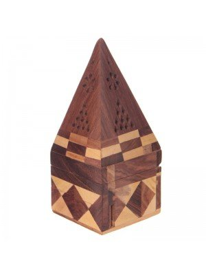 Wooden Pyramid Incense Burner Box