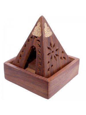 Wooden Pyramid Incense Cone Burner Box With Buddha