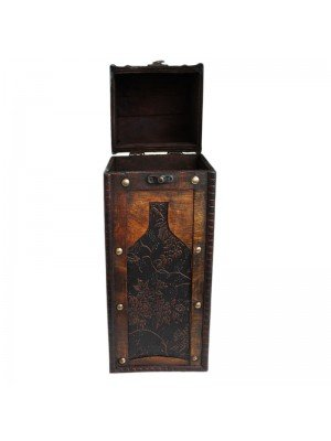 Wooden Wine Bottle Carrier Box with Floral Wine Botlle - 35cm