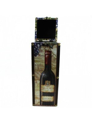 Wooden Wine Bottle Carrier Box with Handle - 35cm