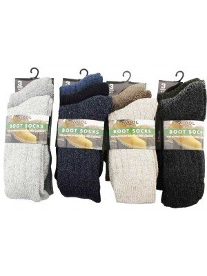 Wholesale Ladies Pack of 3 Wool Blend Boot Socks(4-7)