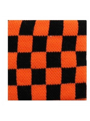 Wrist Sweatbands Chequered Black & Neon Orange