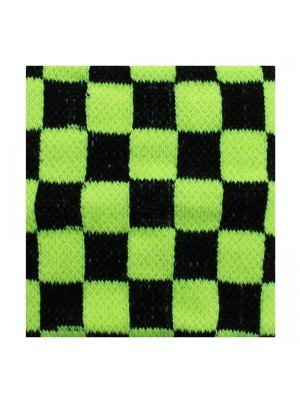 Wrist Sweatbands Chequered Black & Neon Yellow