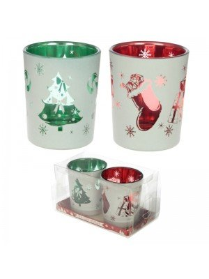 Wholesale Christmas Set of 2 Glass Tea Light or Votive Holders