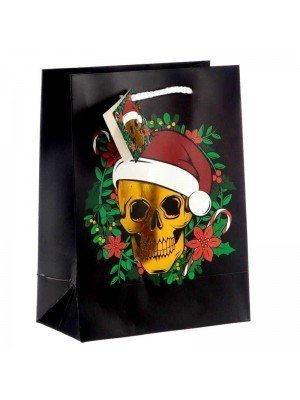Wholesale Christmas Skull Metallic Gift Bag - Medium