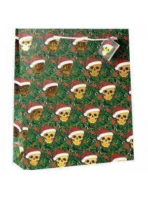 Wholesale Christmas Skull Metallic Gift Bag - Extra Large