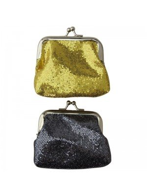 Wholesale Sparkly Multi Coloured Silver Sequin Coin Purse With Ball Snap Clasp