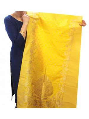 Wholesale Ladies Banarasi Brocket Silk Ethnic Dupatta - Yellow