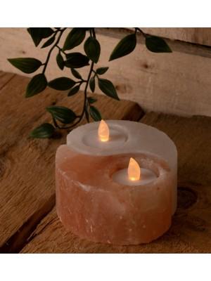 Wholesale Ying Yang Rock Salt Double Tealight Holder