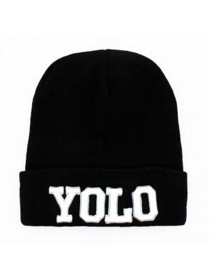 Unisex ''Yolo'' Beanie Hat - Black