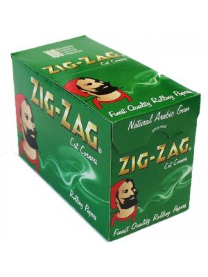 Wholesale Zig Zag Green Cut Corners Regular Rolling Papers - 100 bookets