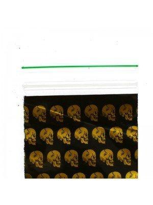 Wholesale Zipper Grip Seal Bags- Gold Skull Print (50x50mm)