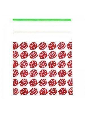 Wholesale Zipper Grip Seal Printed Baggies - Red Dice (2x2)