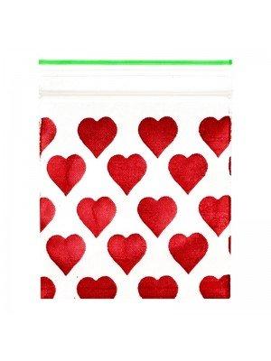Wholesale Zipper Grip Seal Printed Baggies - Red Heart (30x30mm)