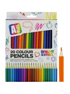 20 Pcs Large Colouring Pencils - Assorted Colours