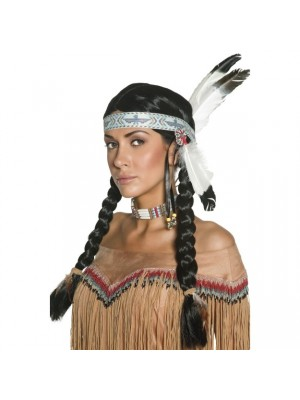 Native American Wig with Feather Headband - Black