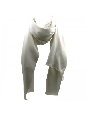 Ladies' Pashmina Style Scarves With Tassels  - Off White
