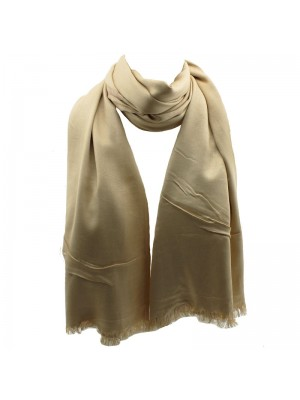 Ladies' Pashmina Style Scarves With Tassels  - Beige