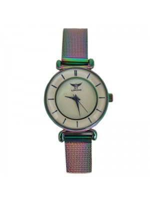 NY London Ladies Fashion Watch with Metal Strap - Rainbow