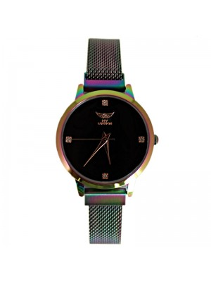 NY London Ladies Watch with Metal Strap - Rainbow/Black