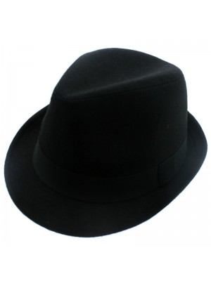 Black Trilby With Band - Assorted Sizes
