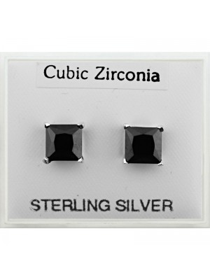 Sterling Silver CZ - Square Studs Black (6mm)