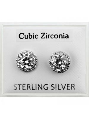 Sterling Silver CZ - Round Gem Studs (8mm)