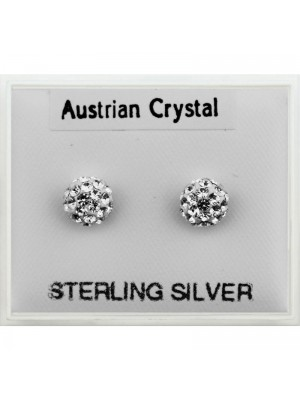 Sterling Silver Austrian Crystal Round Studs (4mm)