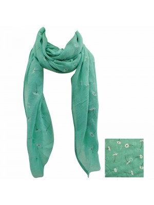 Ladies Daisy Design Scarves - Pale Green