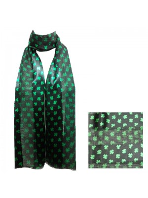 St. Patrick's Day Small Shamrock Design Satin Stripe Scarves - Black