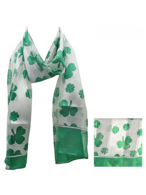 St. Patrick's Day Shamrock Design Satin Stripe Scarves - White & Green