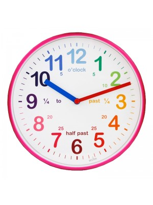 Acctim Wickford Kids Time Teaching Wall Clock - Pink