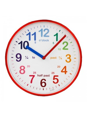Acctim Wickford Kids Time Teaching Wall Clock - Red