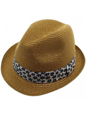 Adults Unisex Straw Trilby Hat With Patterned Band Assortment