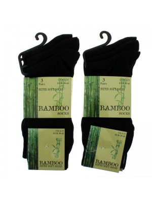 Bamboo Super Soft Plain Socks Size UK - 6-11 (Black)