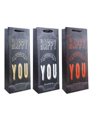 Birthday Design Bottle Gift Bags - Assorted