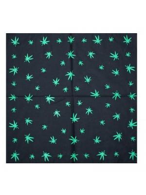 Black Cannabis Leaf Print Bandana