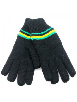 Black Thinsulated Gloves - Jamaican Colours