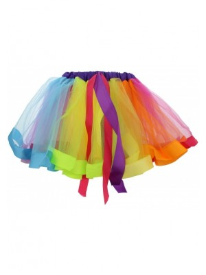 Children's Rainbow Tutu Skirt with Ribbon Trim