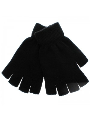 Mens Thermal Magic Fingerless Gloves - Black