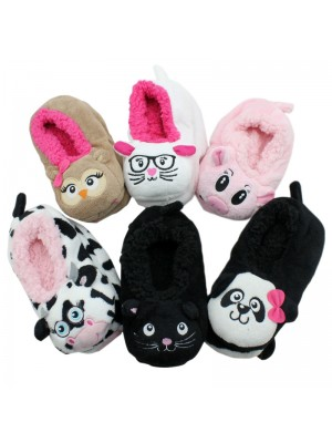 Co-Zees 3D Animals Sherpa Novelty Slippers- Assorted