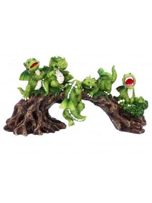 Daring Dragonlings Green Baby Dragons on Branch Figurine - 22.7cm