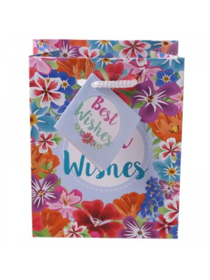 'Best Wishes' Floral Botanical Garden Small Glossy Gift Bag (11x14x6cm)