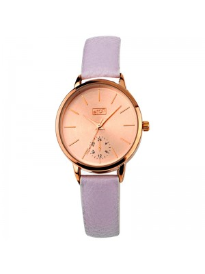 Eton Ladies Semi Dial Faux Strap Watch - Grey