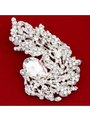 Silver Crystal Vintage Diamante Feather Design Brooch