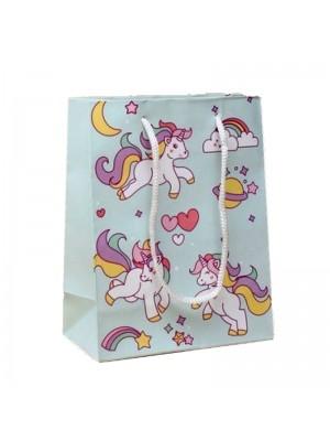 Unicorn Rainbow Print Gift Bag with White Corded Handles (15x12x6cm)