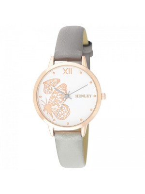 Henley Ladies Butterfly Design Fashion Strap Watch - Grey