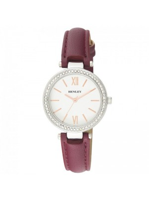 Henley Ladies Classic Diamante Faux Strap Watch - Wine